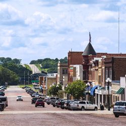 View of main street with store fronts in Marysville, Kansas